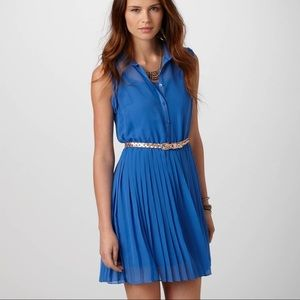 AEO Blue Open Back Sheer Button Down Pleated Dress